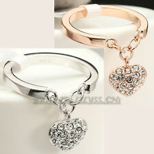 Fashion Heart Charm Ring 18KGP with CZ Rhinestone Crystal Size 5.5-10