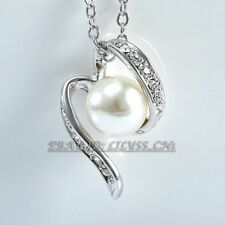 Fashion White Pearl Pendant Necklace 18KGP Rhinestone Crystal