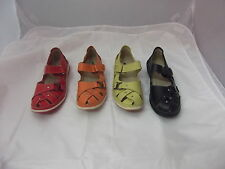 Ladies Shoes Leather Flats With  Tab Size 6-10 Black Red Green Orange New