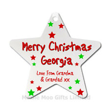 Personalised Name Christmas Tree Star Decoration Ornament Gift Merry Xmas Tag