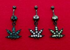 Poularl Anodized Black Plated Weed Leaf Navel / belly Rings in New Colors(14g)