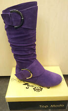 Womens Classic Buckle Tall Faux Suede Purple Winter Mid Calf Fashion Boots