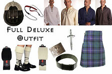 8 Yard Scottish Kilt Package, Complete Deluxe Casual Outfit Freedom Tartan