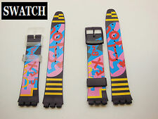 Replacement Clear OR Black Buckle Watch Band for Swatch Silicon BWBY 17mm