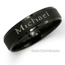 Name Ring / Promise Ring - Black Titanium / Stainless Steel--Personalized Free!