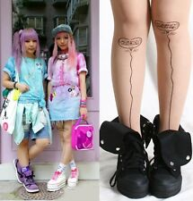 Japan Harajuku Heart Bubble Balloon Tattoo Nude Sheer Pantyhose Hoisery Tights
