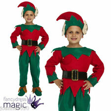 NEW CHILDS BOYS CHRISTMAS FANCY DRESS ELF COSTUME WITH HAT AND SHOES - ALL SIZES