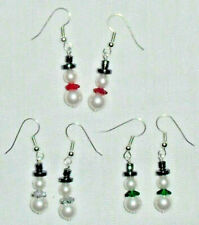 Christmas Snowman Earrings Swarovski Pearls Czech Bead Hematite Hat Handcrafted