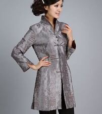Charming Chinese Women's Silk jacket /coat Cheongsam Gray Sz 8 10 12 14 16 18