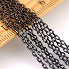 2.5x1.5mm Small Brass Link Cable Chain c43 (2ft) Black Bronze Sterling Silver pl