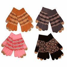 Adult Winter Aztec Thermal Warm Touch Screen Gloves (I Phone & Mobile Phone)