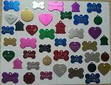 PET TAGS ID CUSTOM DIAMOND ENGRAVED DOG CAT NAME CHARM TAGS WITH FREE SPLIT RING