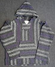 NEW W/TAGS SOFT INSIDE PURPLE/BLACK/GREY MEXICAN SURFER HOODIE BAJA JACKET