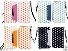 5 Colors PU Leather Polka Dot Wallet Flip Case Pouch Cover for Apple iPhone 4 4s