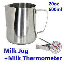 Milk Frothing Jug with Milk Thermometer/ Stainless steel/ Size:12oz, 20oz, 32oz