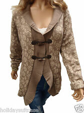 NEW LADIES WOMANS CARDIGAN BEST WINTER DUFFLE ROSE JACKET PLUS SIZE 22 TO 28 UK