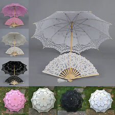 Multi Colors Handmade Cotton Lace Parasol Umbrella & Hand fan For Wedding Party