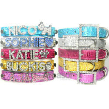 PAILLETTE DOG CAT PERSONALIZED RHINESTONE BLING PET NAME COLLAR, XS S M L XL