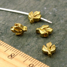 Plated Brass Leaf Bead Finding 7x6mm b02(4pcs)