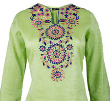 Ladies Indian Long Sleeve Kurta-Kurti Tops Green KL6590 Various Sizes
