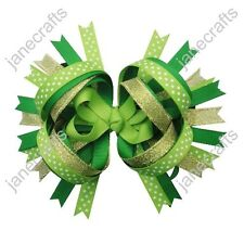 """12pcs 4.5""""/5"""" Baby Girl Toddler Layered Spike Bows Clips  for St. Patrick's Day"""
