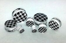 """ Houndstooth "" Double Flared Solid Hand Painted Acrylic Plugs ( 2 g To 1inch )"