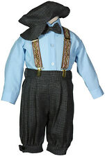 Boys Toddlers Charcoal Weave Pattern Knicker Set w/ Hat, Bow Tie, & Suspenders