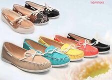 Women's Lacing Slip On Boat Round Toe Moccasin Flat Sandal Shoes 4 Color NEW
