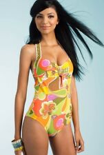 TRINA TURK 2013 LAVASCAPE BUCKLE FRONT HALTER MAILLOT ONE PIECE SWIMSUIT NWT