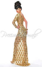 Precious Formals P8870 Gold Lace Sequined Gala Gown Dress