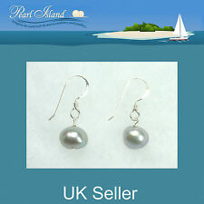 Freshwater Pearl Earrings with Silver Grey Baroque Pearls