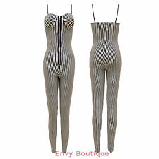 NEW LADIES MONOCHROME STRIPED ZIPPED PLAYSUIT WOMENS JUMPSUIT SIZES 8 10 12 14