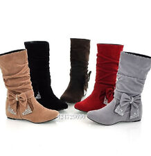Cute Women's Low Heel Mid-Calf Bowknot Faux Suede Boots Shoes AU All Size YB017