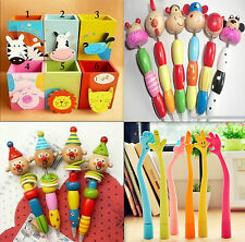 Cool Novelty Gift Idea Wooden Clown Cartoon Animal Flexible Ball Pen Party Favor