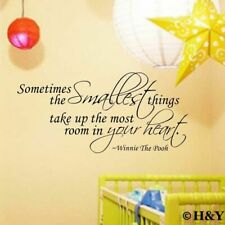 """""""The Smallest Things"""" Winnie The Pooh Wall Art Quote Nursery Sticker Vinyl Decal"""