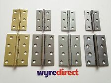 "2x Butt Hinges Door Hinges BRASS-CHROME-ZINC-S/C 3"" or 4""-75mm or 100mm 1 Pair"