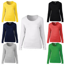 New ANVIL Womens Ladies Long Sleeve Sheer Cotton Scoop T Shirt 5 Colours S-XXL