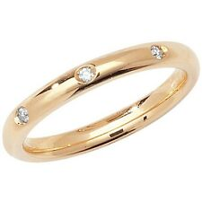 9ct Yellow Gold 2.5mm Three Stone Diamond Court Style Wedding Band