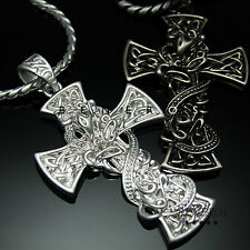 Snake Celtic Cross Pendant Chain Necklace Silver Plated Mens Jewelry Biker Charm