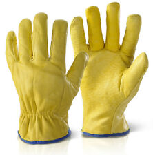 1 PAIRS OF FLEECE LINED LEATHER LORRY DRIVERS WORK GLOVES SAFETY DIY QUALITY