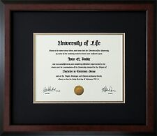 "Walnut Wood Frame with mats & glass for 11x14"" Diploma Certificate Document"