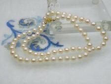 JAPANESE cultured 6mm AAA+ grade fine round white AKOYA pearls necklace 14k gift