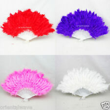 "Chinese Japanese Wedding Party/Dancing feather Folding hand fan Open 16"" Nice"