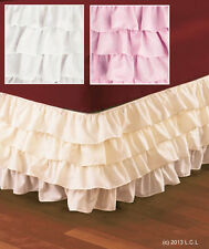Wrap-Around IVORY Layered Ruffled Bedskirt IN STOCK 4-Tier Dust Ruffle Bed Skirt