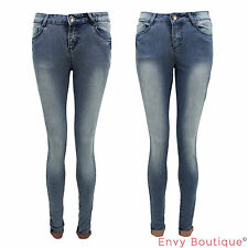 NEW LADIES DENIM FADED STRETCH TURN UP WOMENS SKINNY JEANS PANTS TROUSERS 8-16