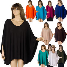 New Ladies Long Tunic Blouse Top Kaftan Poncho Stretch Size 16 18 20 22 24