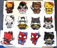 HELLO KITTY  SPIDERMAN,IRON MAN,BATMAN,ROBIN -MANY  SUPER HERO DECALS-STICKERS