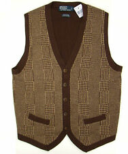 Nwt Polo Ralph Lauren Brown Cashmere and Cotton Blend Button Front Sweater Vest