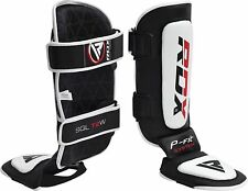 RDX Leather Gel Shin Instep Pads MMA Leg Foot Guards Muay Thai Kick Boxing UFC C
