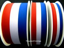 Red, White & Blue Patriotic Tricolour Ribbon 15mm, 25mm, 40mm - Free 1st Class